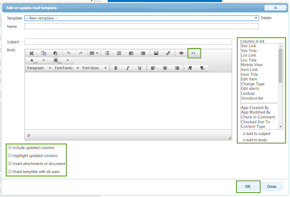 Creating And Updating Email Templates Using Infowise UltimateForms - Work email templates