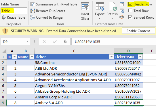 Import from Excel Workbook