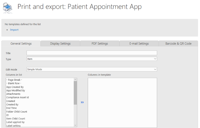 Print and export Patient Appointment App
