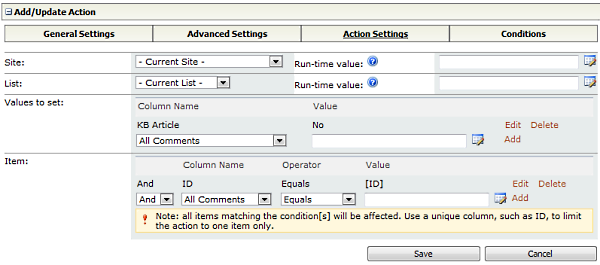 KB Action Settings