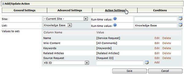 Generate Action Settings