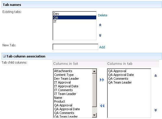 Tab settings