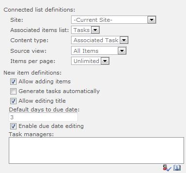 Associated Tasks Field settings
