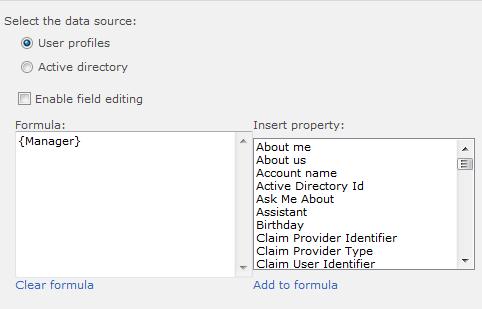 User Property Field settings