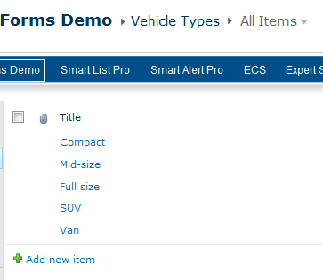 Vehicle Types list
