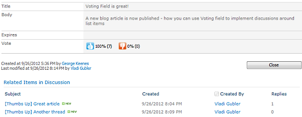Start discussion around any SharePoint item with Voting field