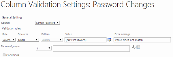Password validation