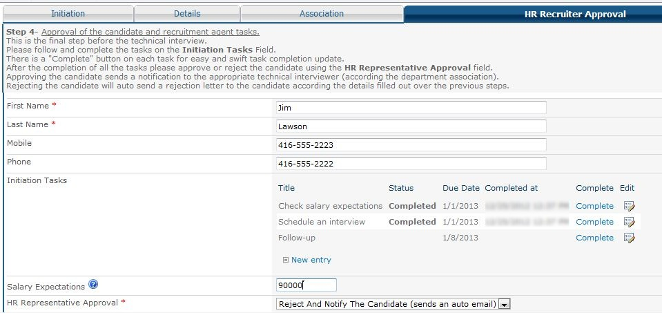 HR Recruiter Approval Form